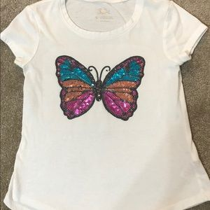 Justice sequin butterfly top size 6